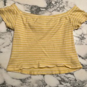 Yellow Striped Off the Shoulder Crop Top